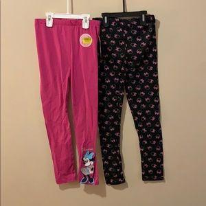 Girls 10/12 leggings 2 pair of Disney Leggings